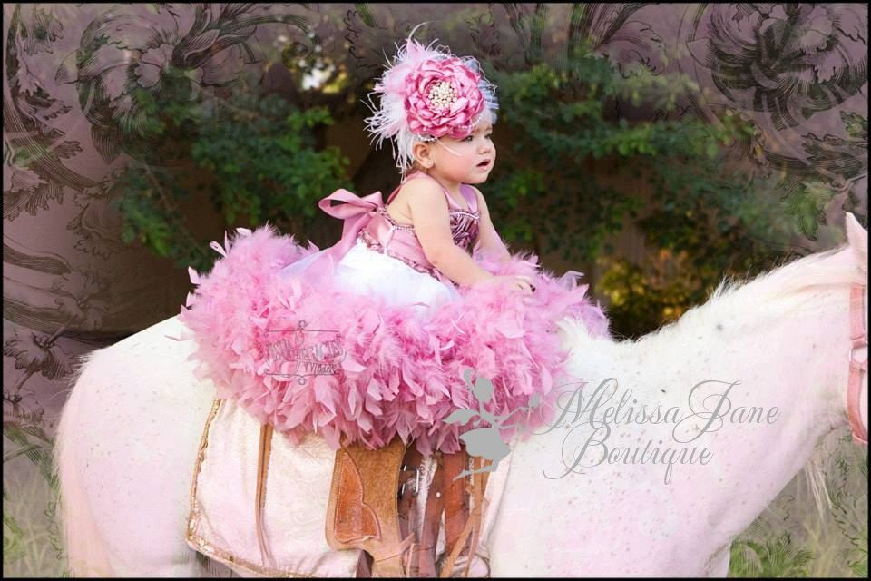 Dusty Rose Classic Fluffy Feather Rosette by MelissaJaneBoutique