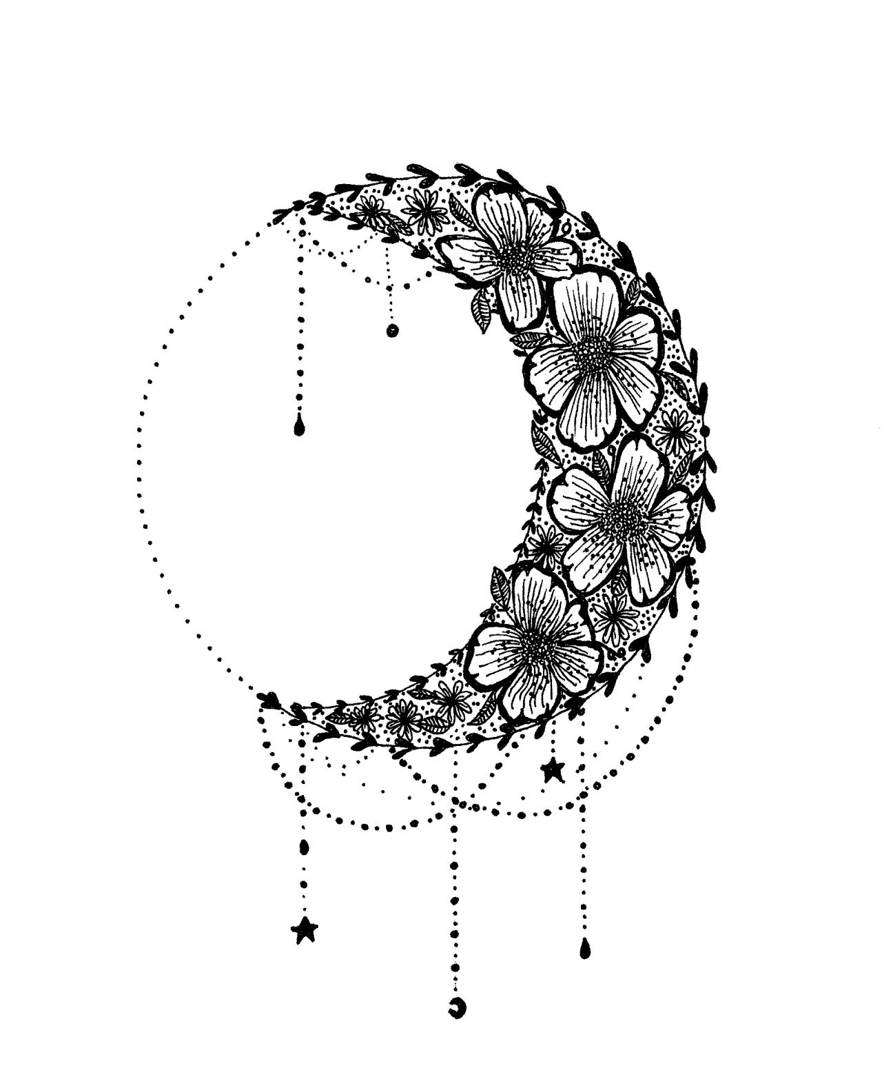 Floral Crescent Moon design | tattoo ideas | Flower ...  Floral Crescent...