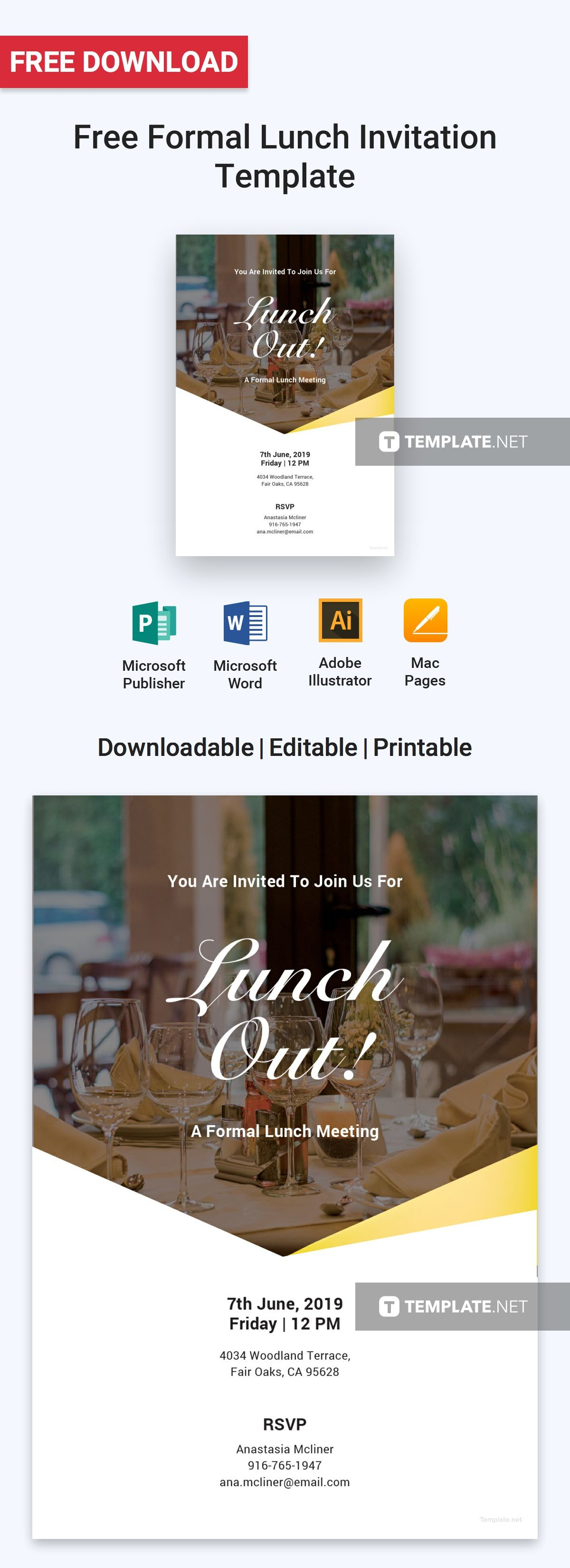 FREE Formal Lunch Invitation Template - Word (DOC)  PSD
