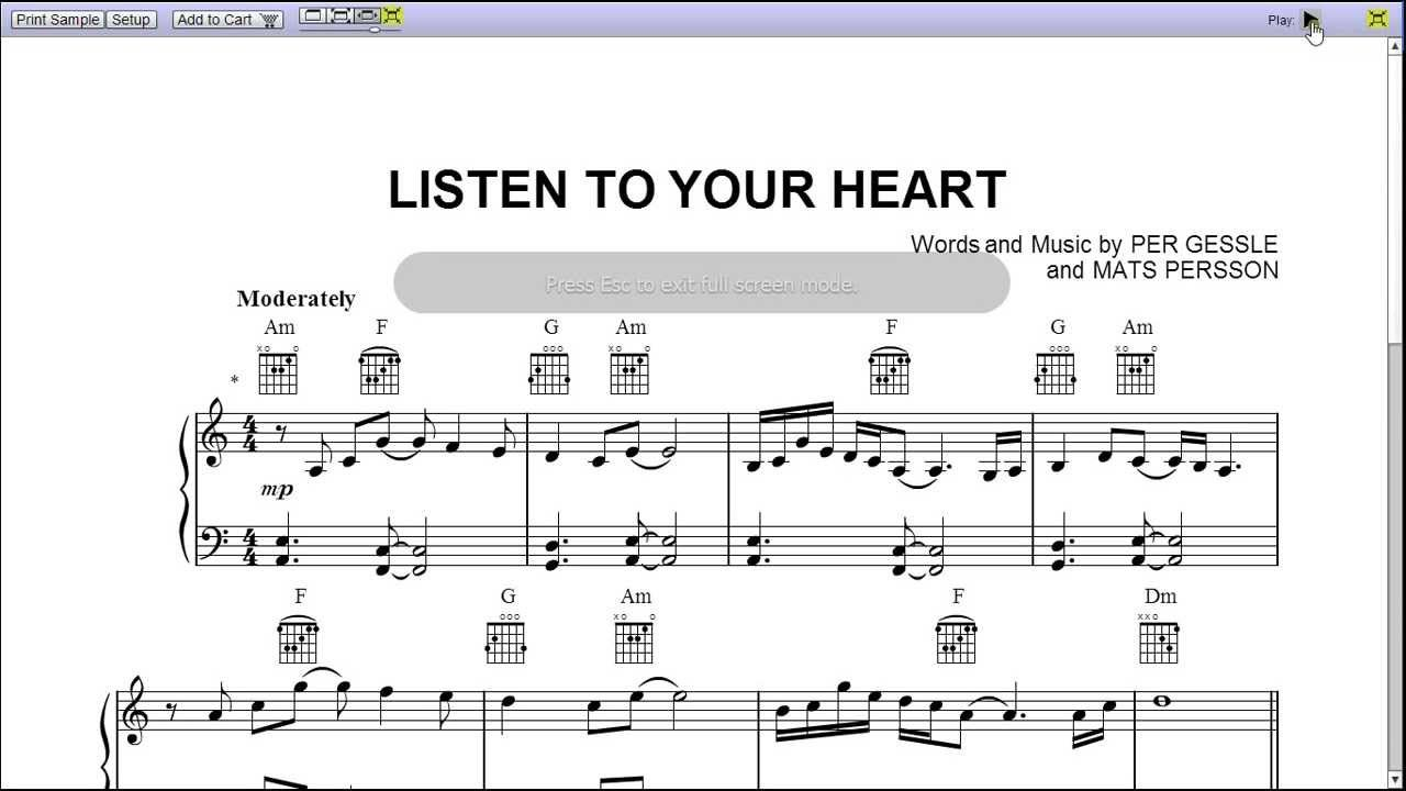 Listen To Your Heart By Roxette Piano Sheet Music Teaser