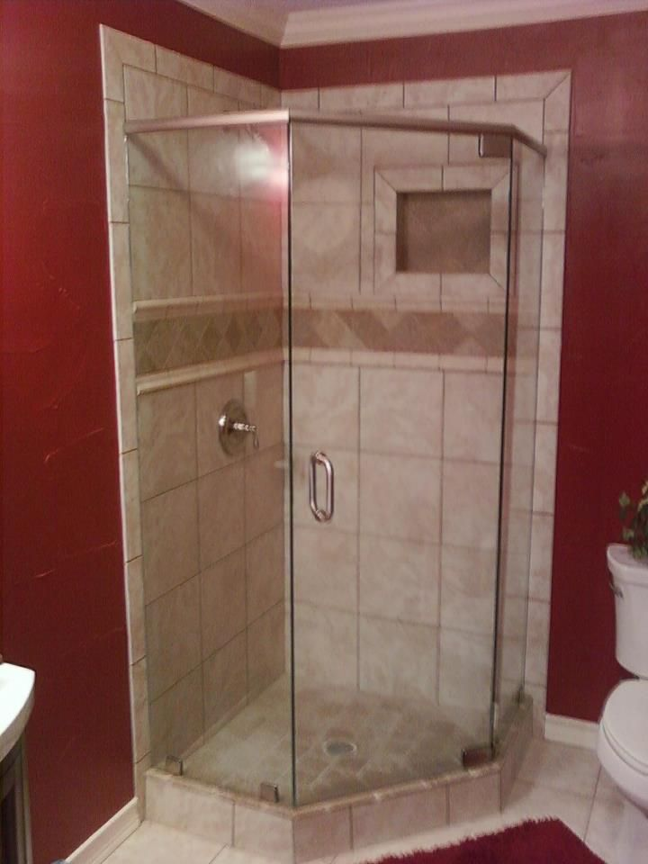 Corner Tile Shower With Deco Band And Shampoo Shelf Cubby Hole With Shower Door Custom Showers
