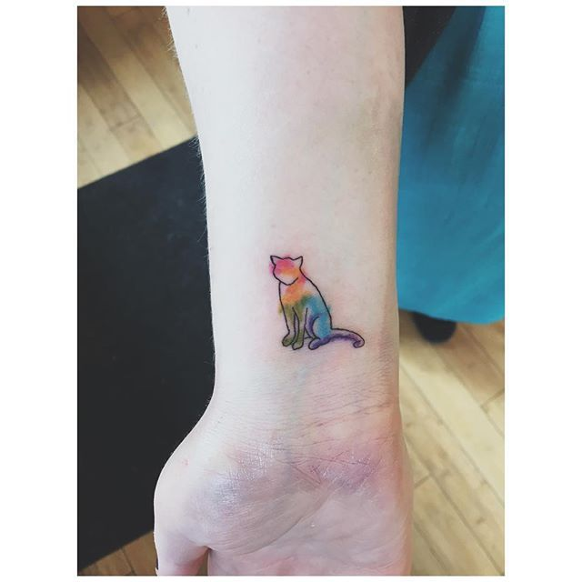 Tiny Little Watercolor Cat Tattoo Tattoos Tattooartist