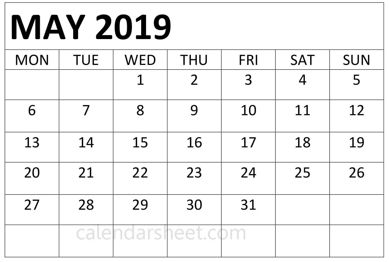 Free Editable May 2020 Calendar Printable Template With Holidays