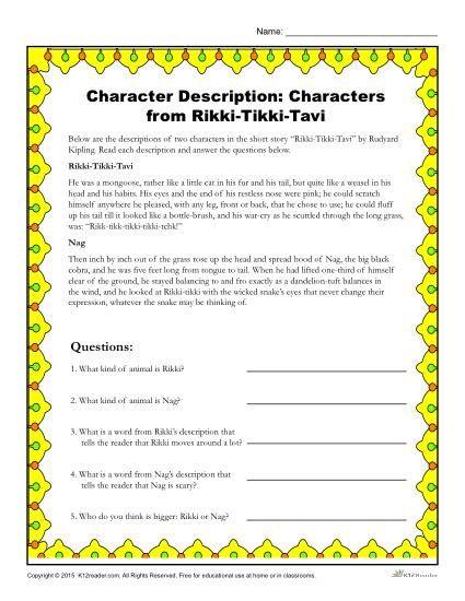 Rikki Tikki Tavi Drawing Conclusions Character