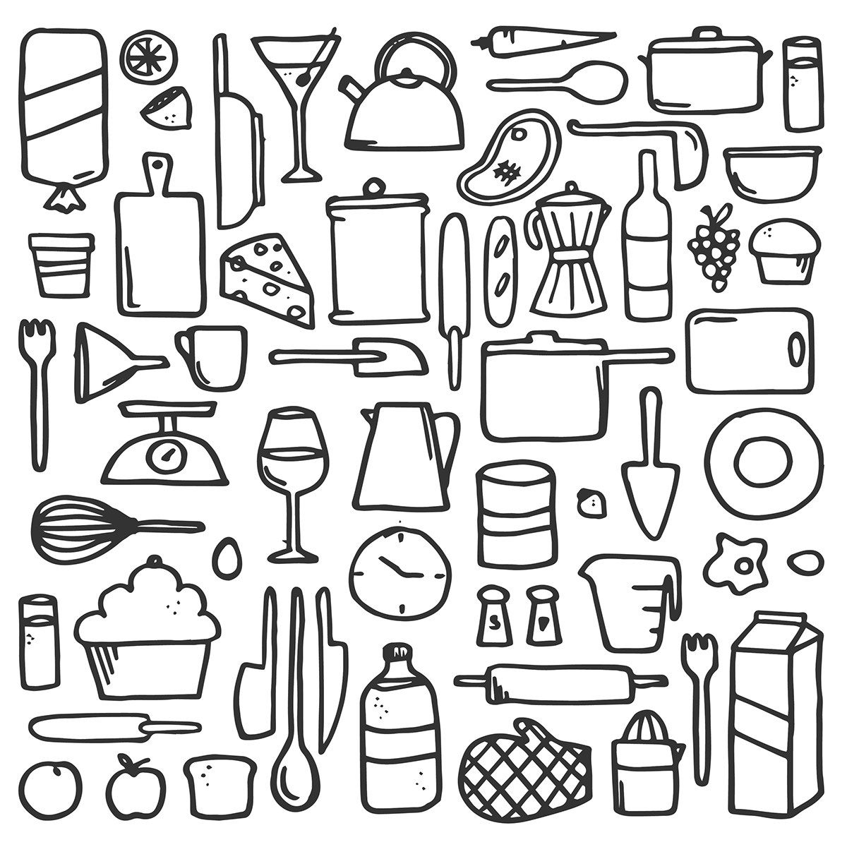 Kitchen Items - Line Drawing On Behance