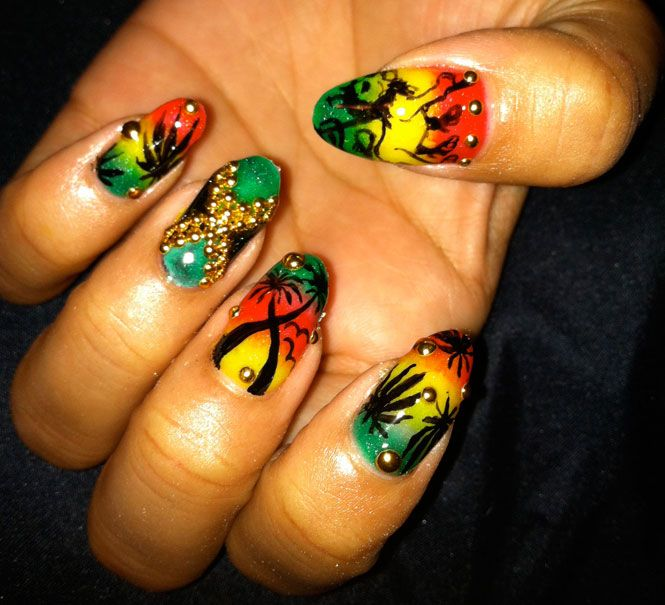 Burton Girls | Reggae, Rasta nails and Jamaica nails