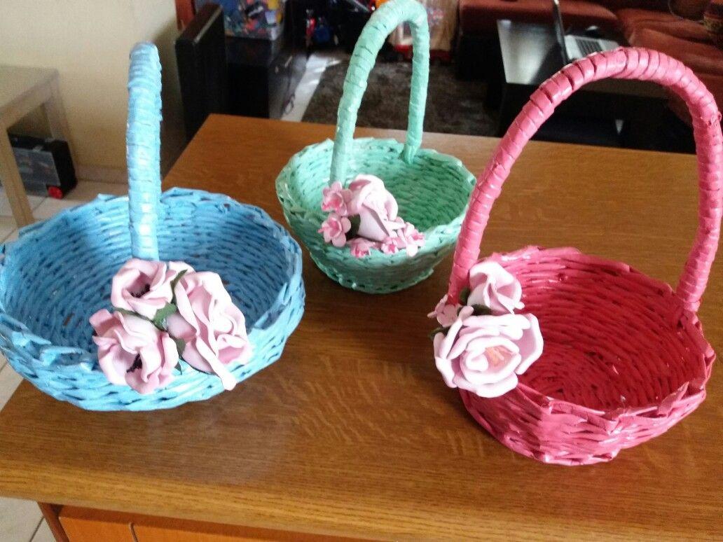 Easter Baskets Newspaper Craft And Foam Paper Flowers Newspaper