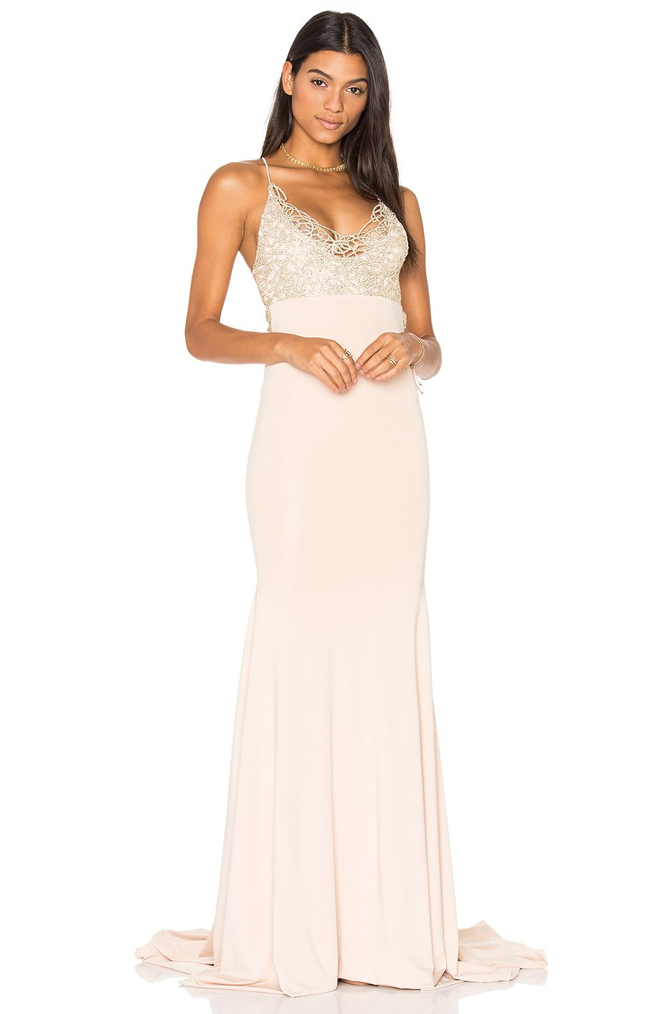 Gemeli Power Jay & Co Gown in Gold Blossom | REVOLVE | Blush fitted ...