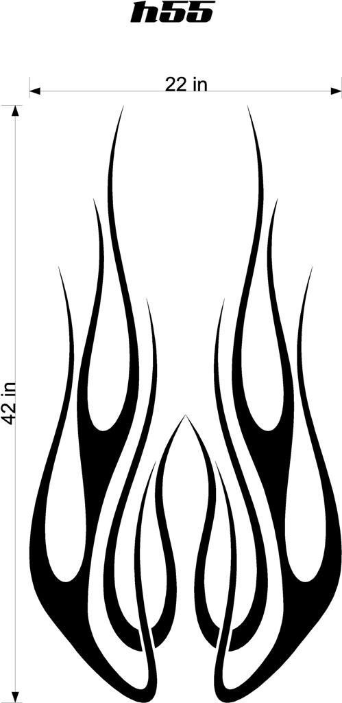 Auto Truck Car Hood Flames Stickers Graphics Decals HH55