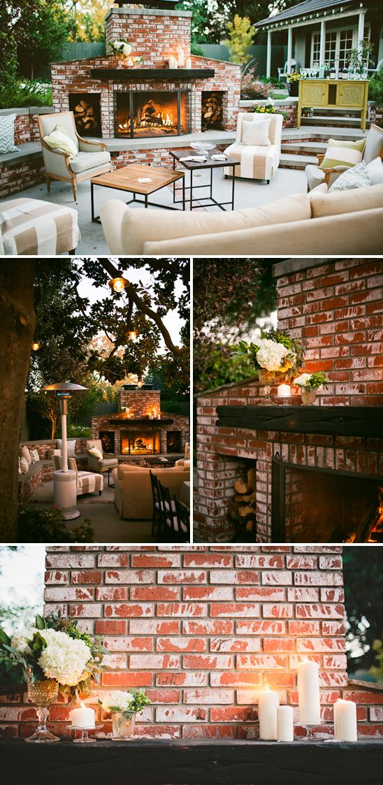 Outdoor fireplace. Is it just me or does this not give you the best of everything?