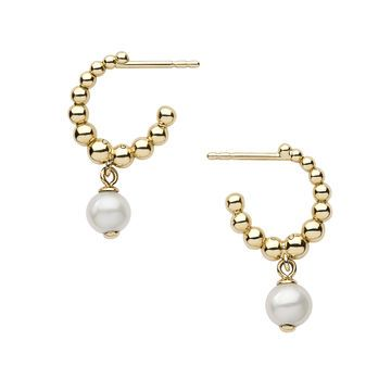 Collections Effervescence, Effervescence White Pearl Hoop Earrings, Official Links of London