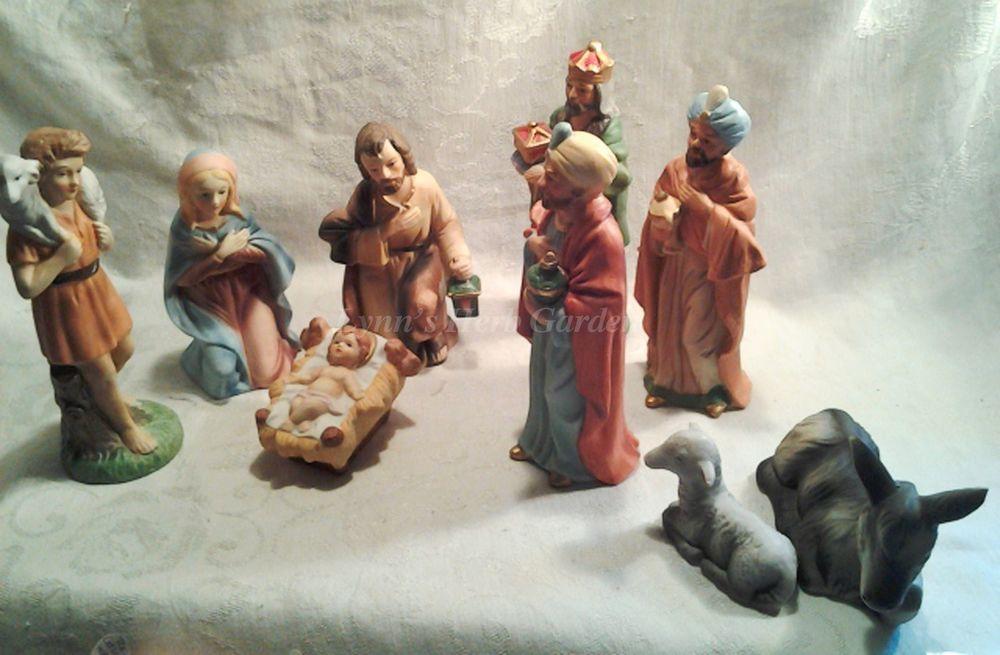 homco nativity scene home interiors 9 piece set porcelain vintage
