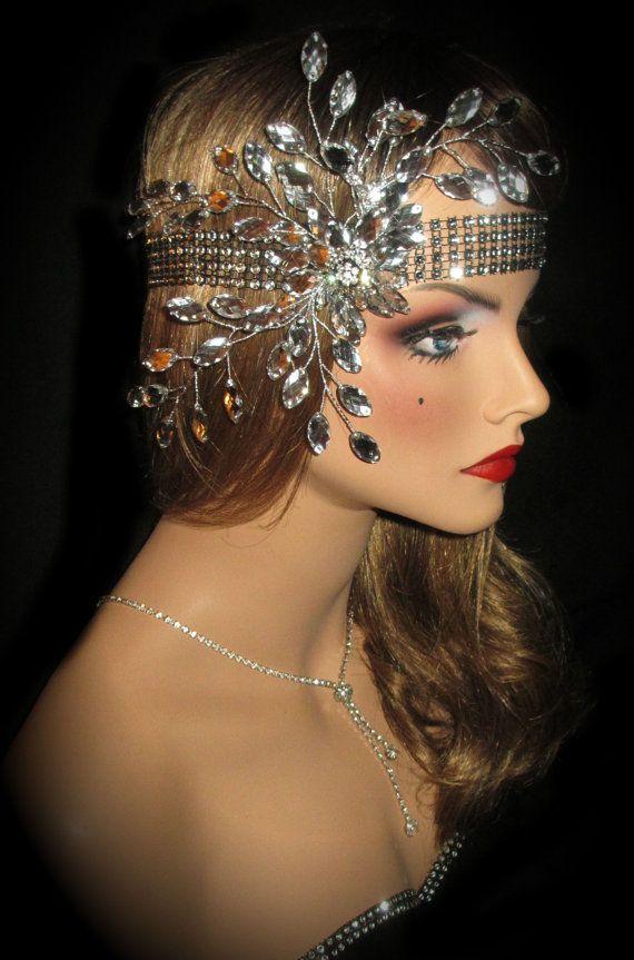 Luxury Rhinestone Diamante Headpiece Flapper 20s Gatsby Headband Wedding Bridal