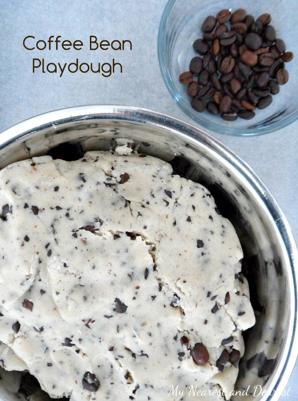Explore the senses of smell and touch with coffee bean playdough. Also perfect for making pretend cookies!