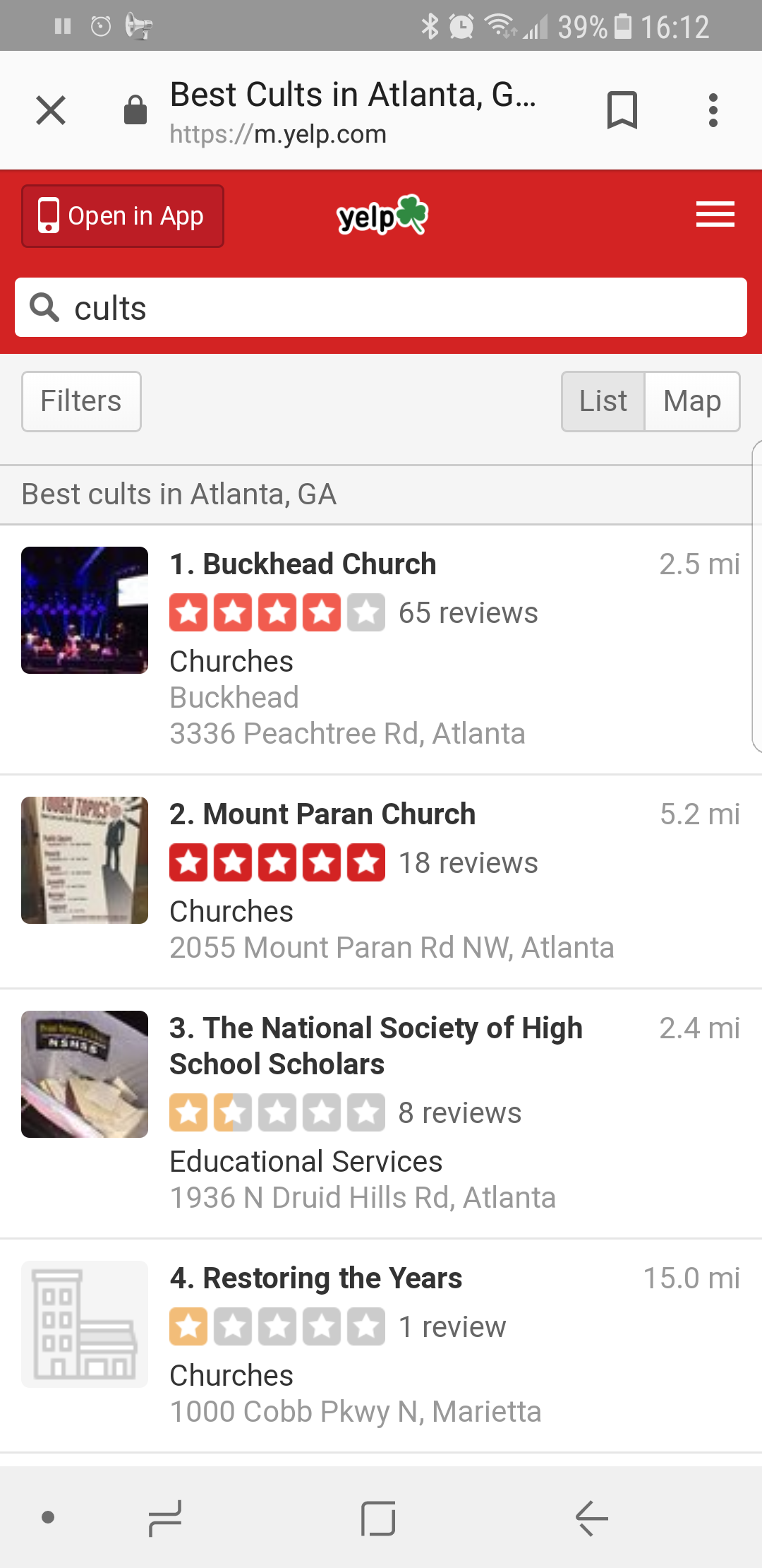 did a search for atlanta cults. found out yelp has a list of the