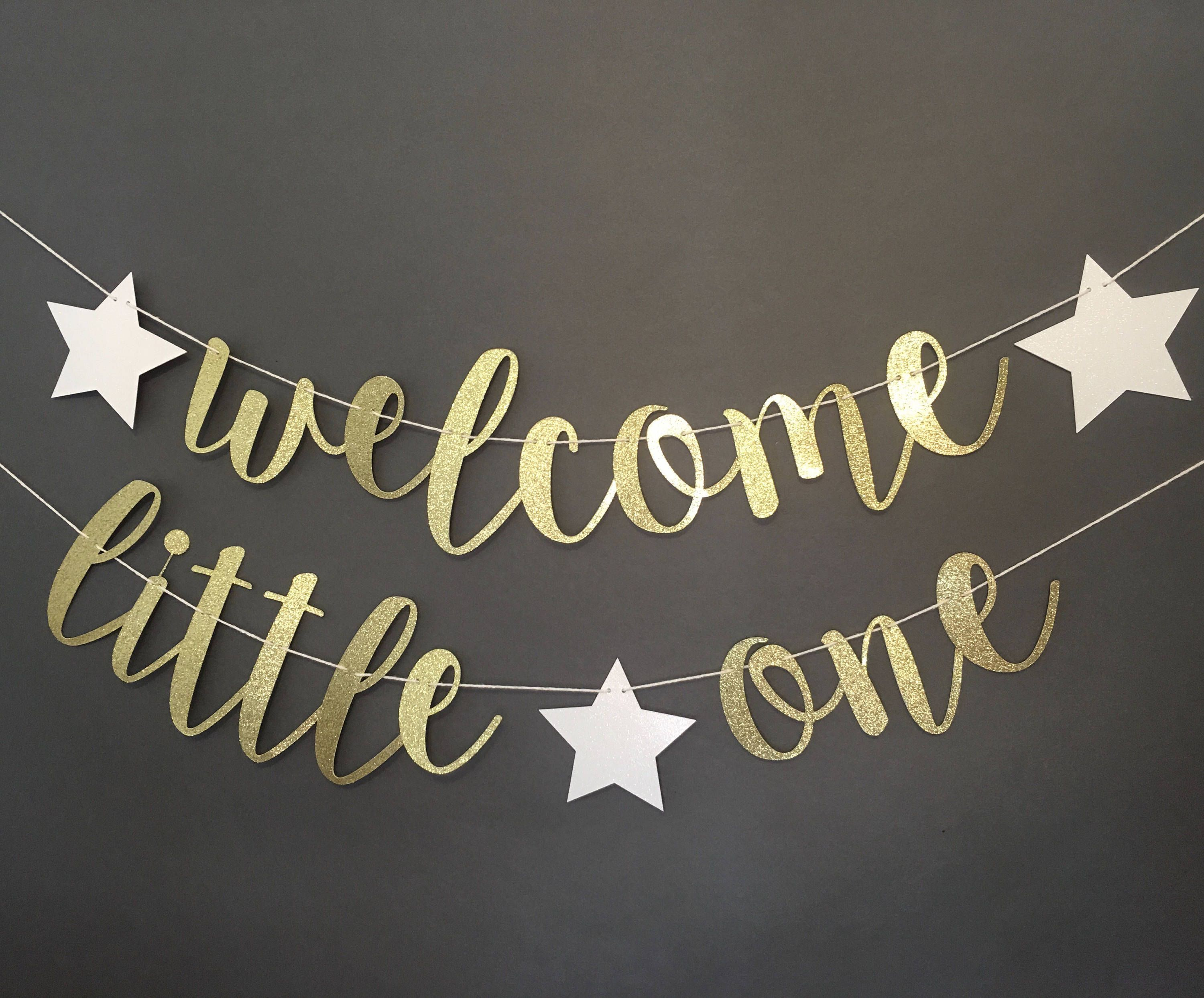 Welcome Little One Banner Little One Decorations Welcome Etsy Welcome Baby Signs Baby Signs Baby Shower Banner