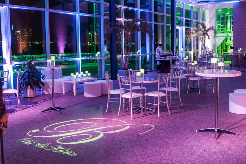 Night Wedding Reception At Waterview Loft Port Detroit Lighting Is Key Also Adding The Couples Last Initial A Great Idea
