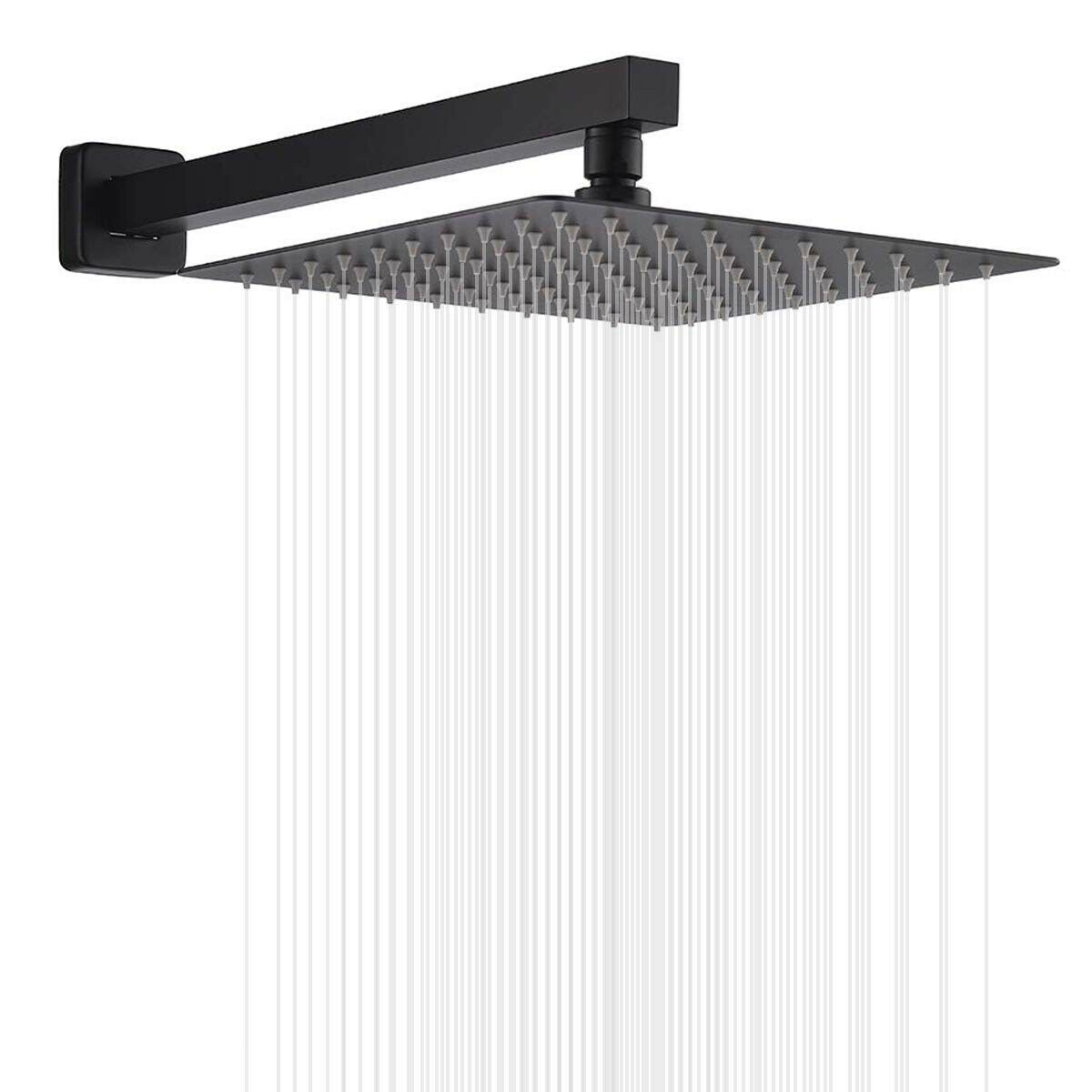 8 Inch Rainfall Shower Head In Matte Black With Shower Arm Wall