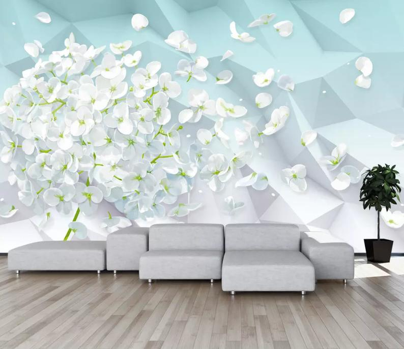 3d Abstract Background Falling White Petals Wallpaper Etsy Wallpaper Abstract Backgrounds Wallpaper Backgrounds