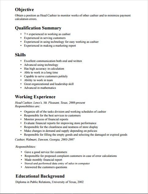 Cashier Job Description Resume