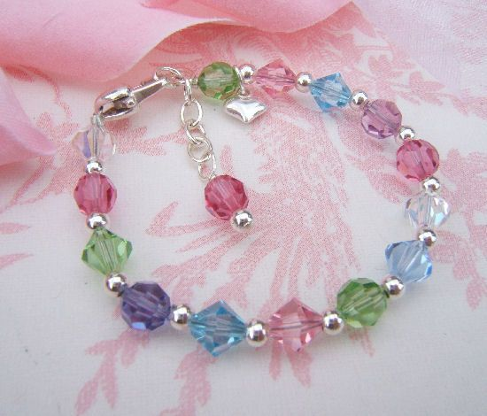 sixsistersbeadworks by bracelets silver heart sterling pin girl baby bracelet little
