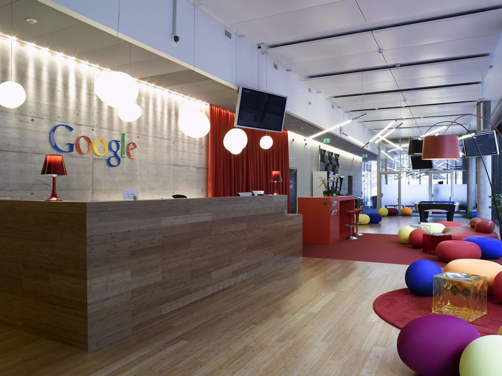 Interior Awesome Google fice Lobby With Colorful Beanless Bag Chair And Cool Laminated Wooden Floor
