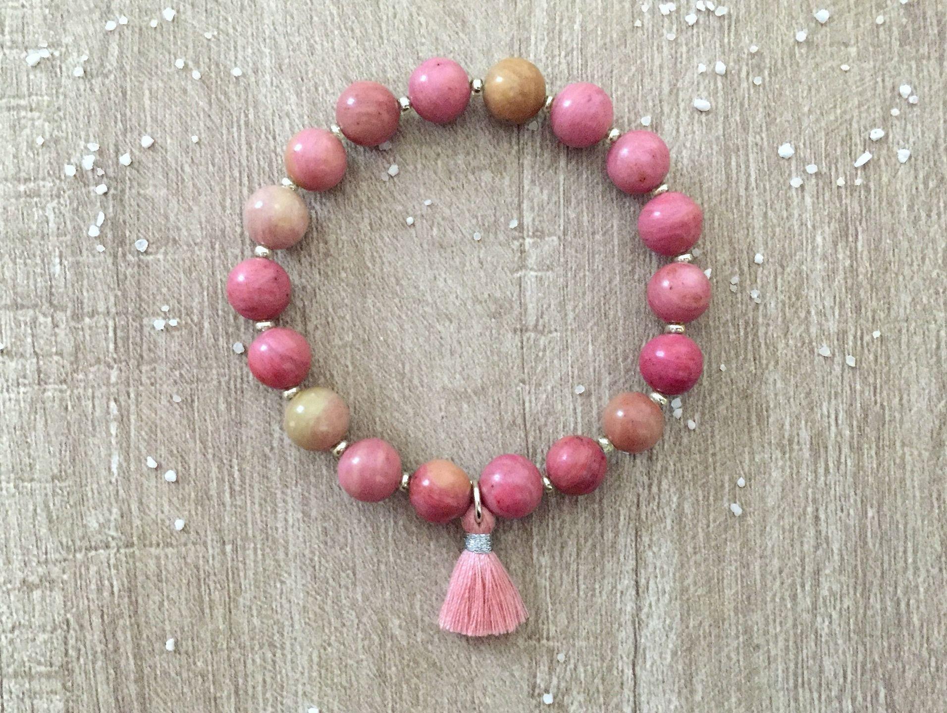 Bracelet Réconfort Rhodonite Perles En Pierre