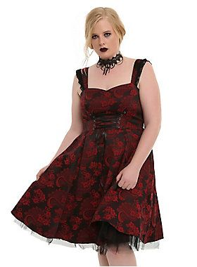 012c55d3960 A dress above the rest    Red Black Brocade Lace Up Dress Plus Size