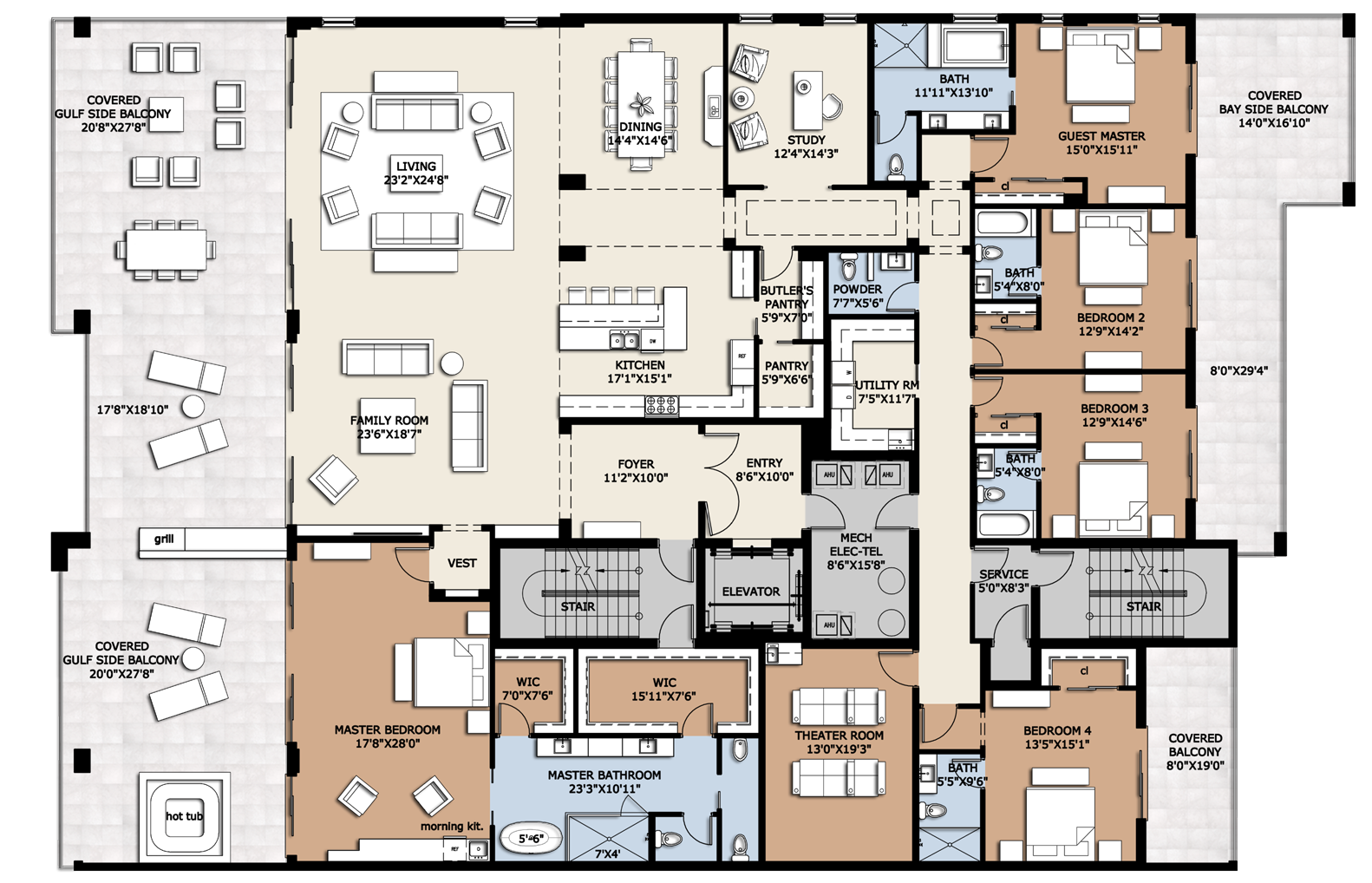 Five bedroom apartment residences penthouse luxury condos for sale site plan floor plan