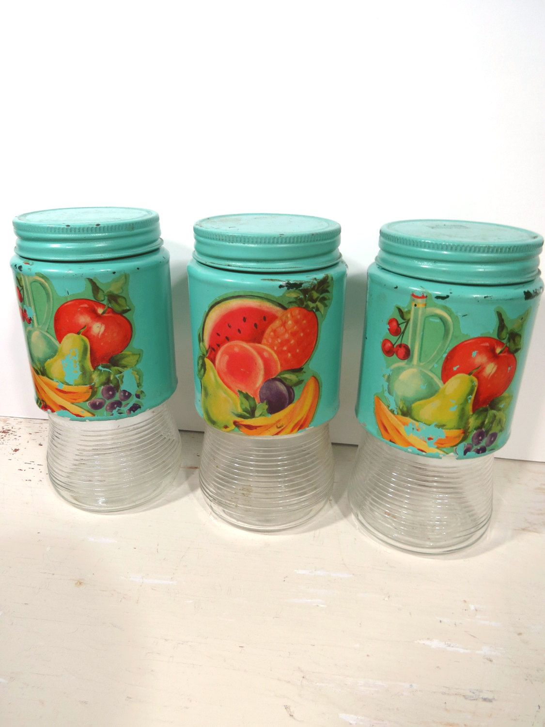vintage glass turquoise kitchen storage jars fruit vegetable vintage glass turquoise kitchen storage jars fruit vegetable decals set of 3 spices tea coffee nuts candy vintage decor