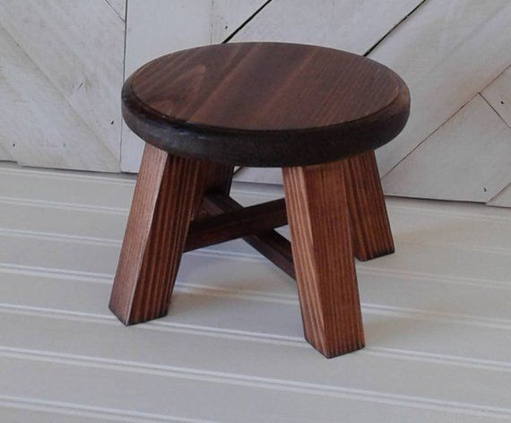 Strange Small Stained Plant Stand Stool Six Inch Diameter Red Oak Gmtry Best Dining Table And Chair Ideas Images Gmtryco