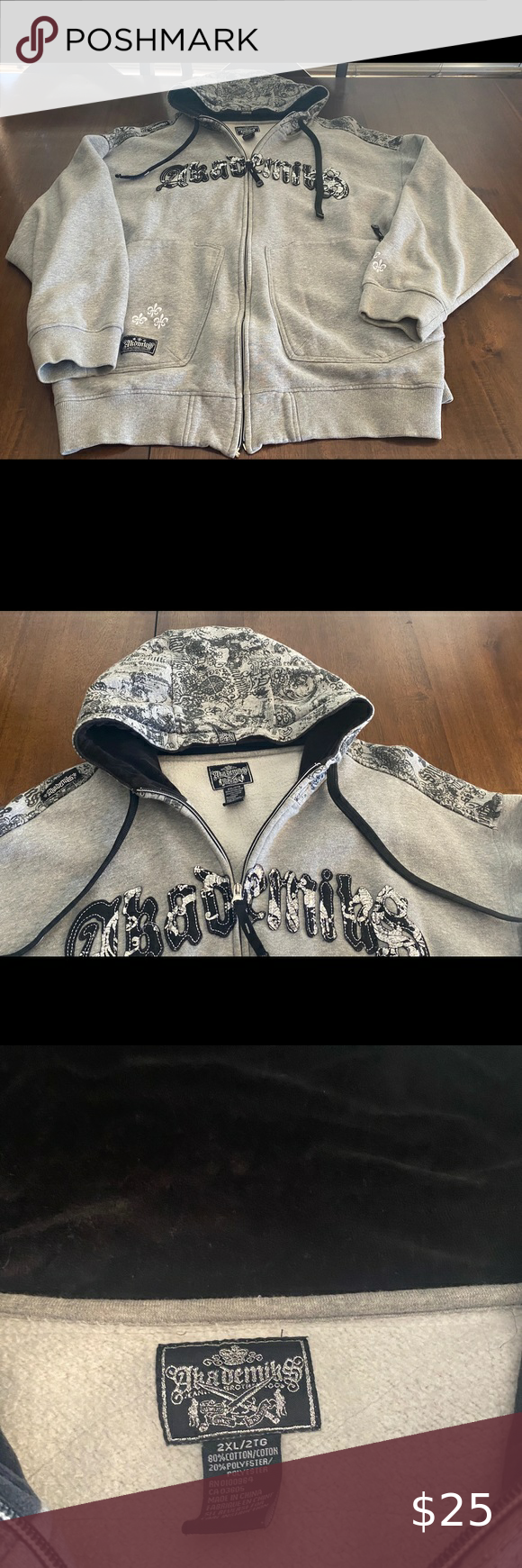 Akademiks Hoodie Akademiks Hoodie Gray Design on the back inside hoodie on the hood part is Velvet zipper just stop working so zipper does not work  - Used Akademiks Sweaters Zip Up