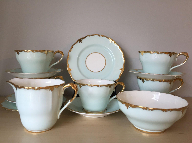 Paragon Duck Egg Blue Vintage Tea Set, Light Blue Tea Cups ...