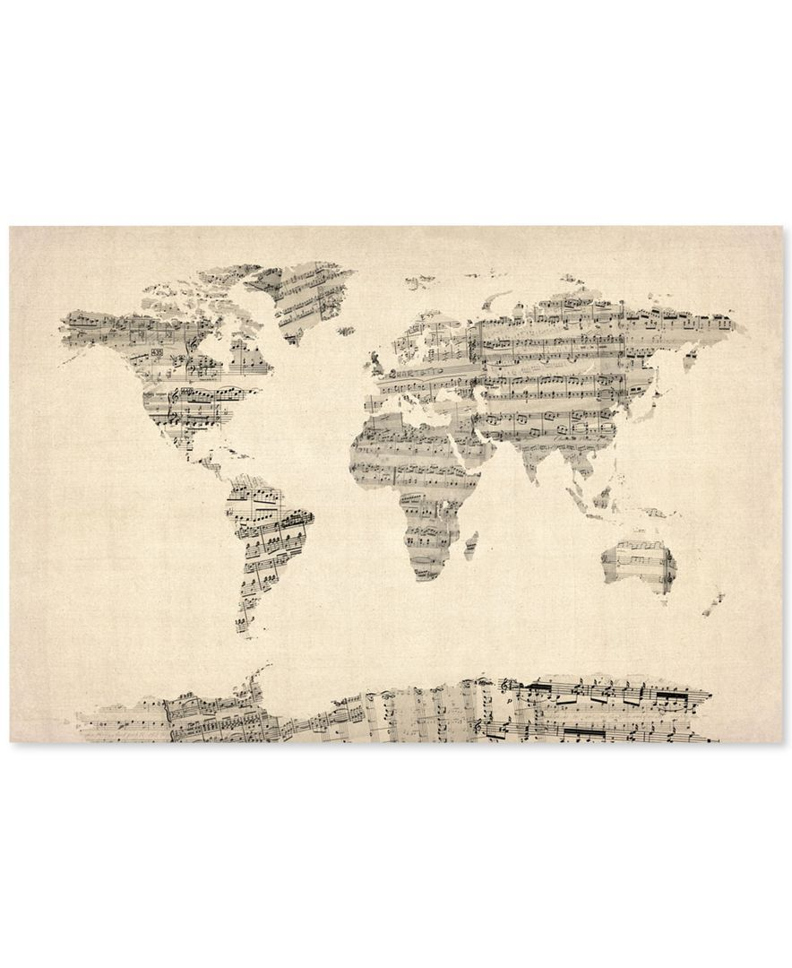 Old sheet music world map by michael tompsett 22 x 32 canvas old sheet music world map by michael tompsett 22 x 32 canvas gumiabroncs