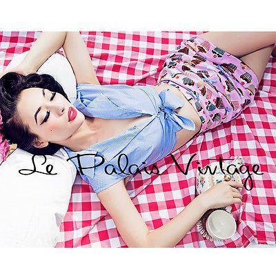 Le Palais Vintage Plaid Cup Cake 2 Pieces Pantskirt Suit - Designed by Winny