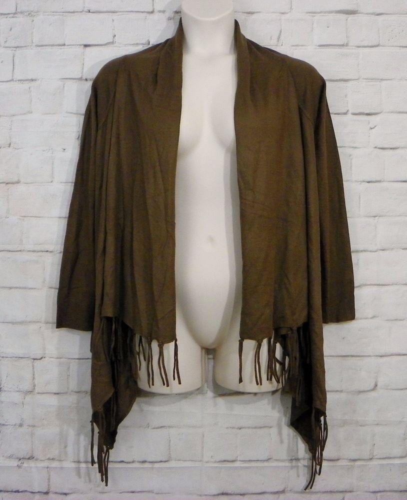 Womens VENUS Brown Open Drape Front Fringe Trim Sweater Flyaway ...