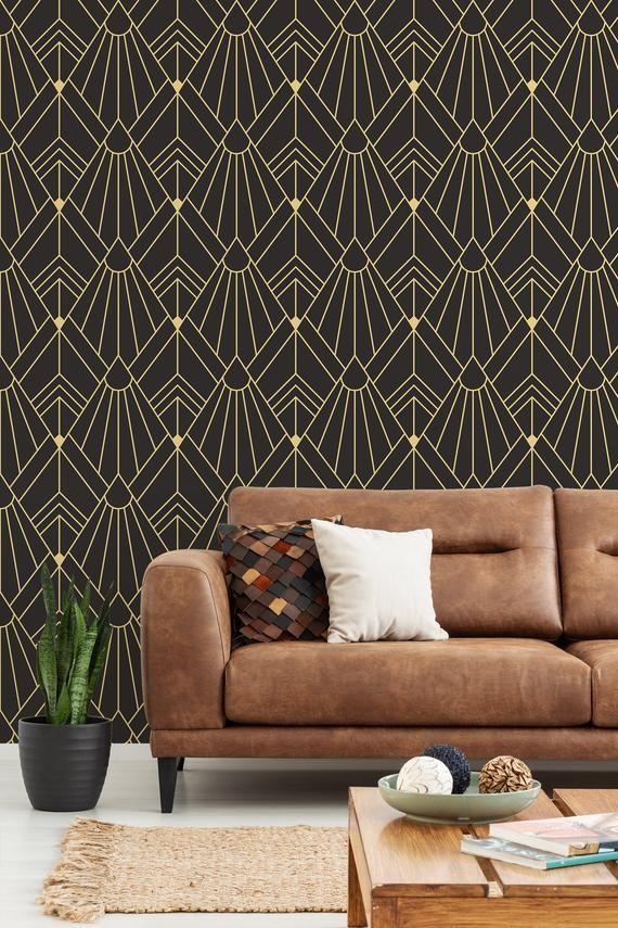 Art Deco Wallpaper Peel And Stick Wall Mural Geometric Etsy Art Deco Art Deco Wallpaper Wall Deco