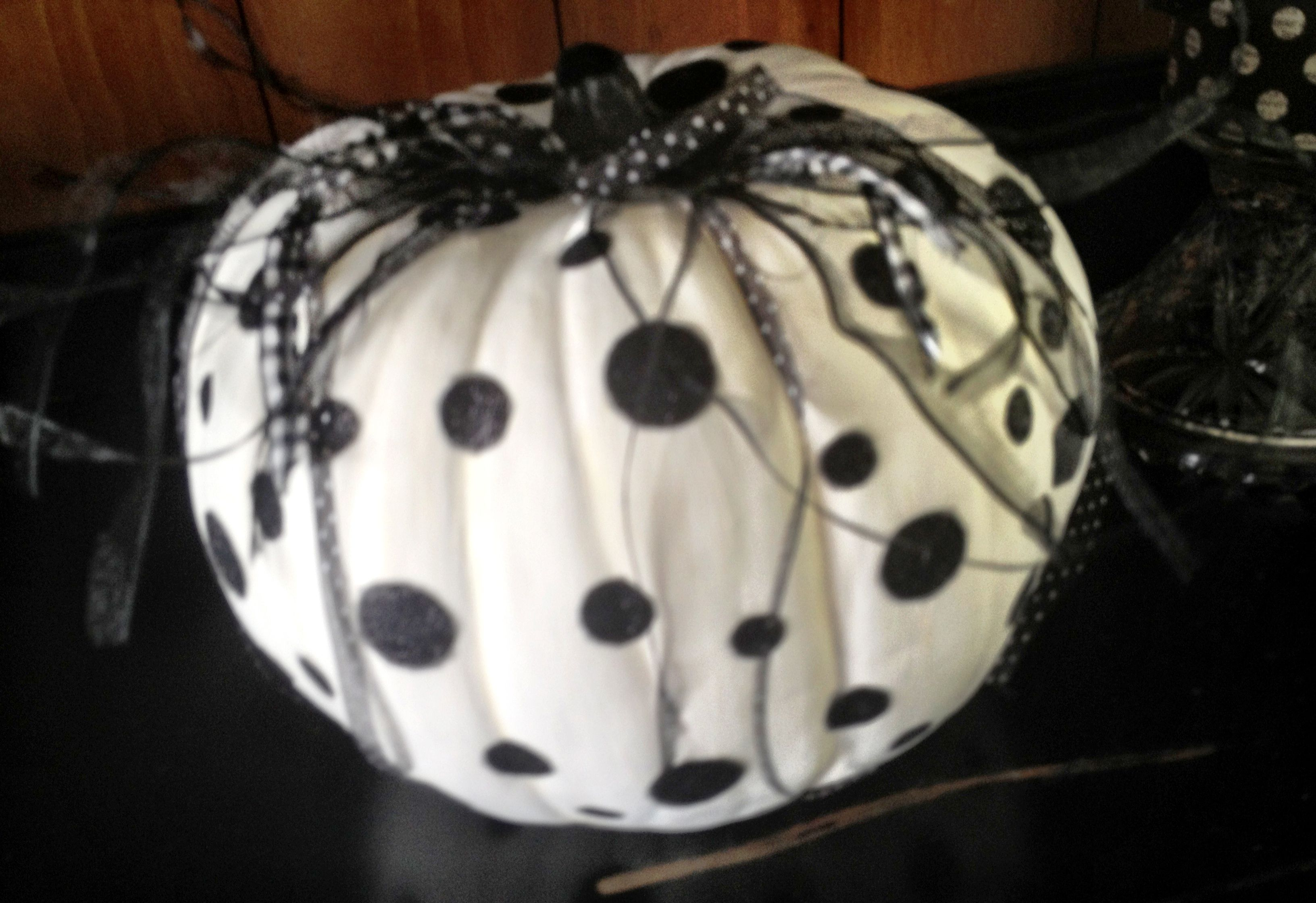 Painted Craft Pumpkin White Em Black And Cut Out