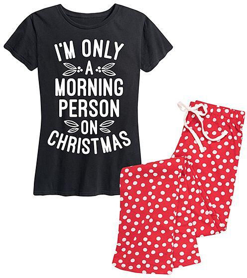 high quality e4480 ddbb8 black red dot morning person on christmas pajama set women