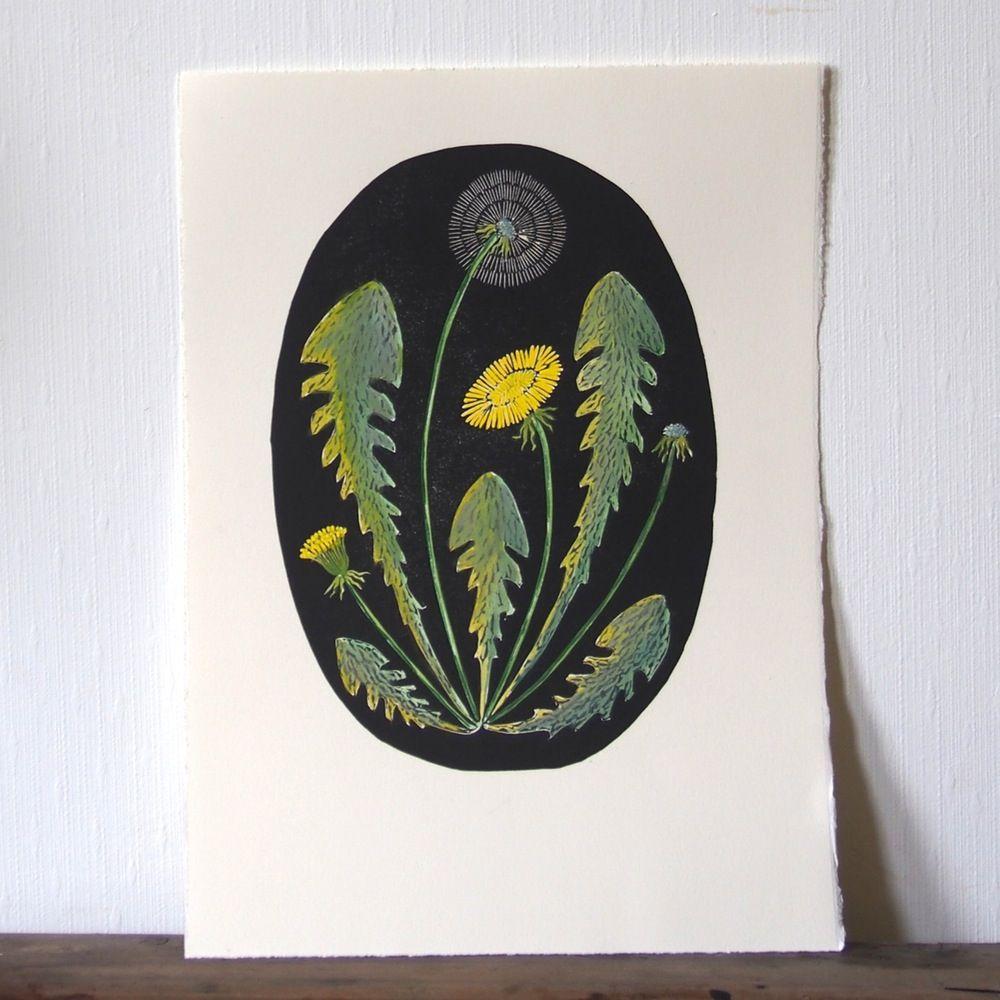Image of Dandelion print painting in black