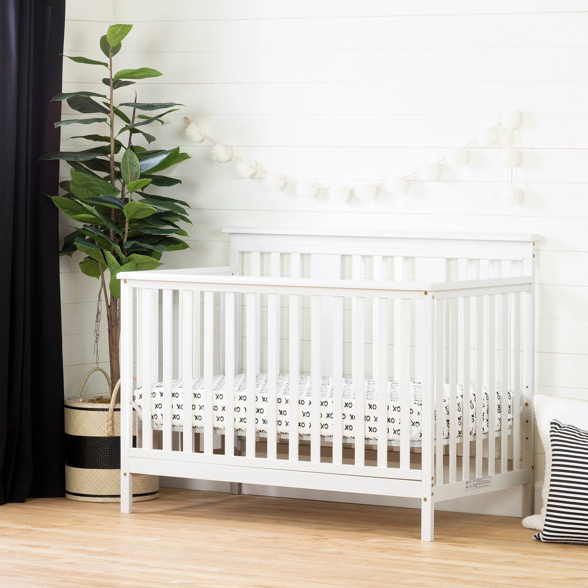 Modern White Crib With Toddler Rail Little Smileys In 2020 Modern Baby Cribs Cribs Crib Toddler Bed
