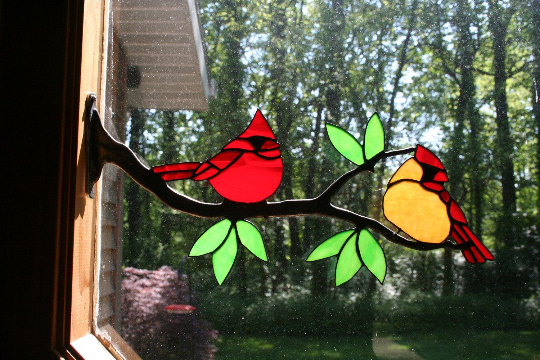 Stained Glass Cardinal Bird