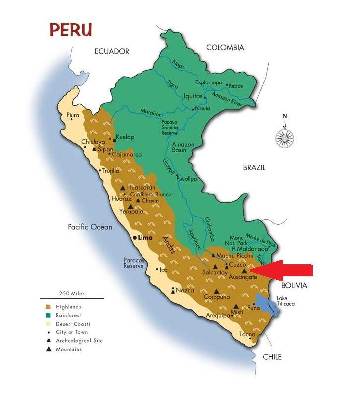 Map Of Peru Showing Where The Festival Is Located Qoyllur Riti - Where is peru