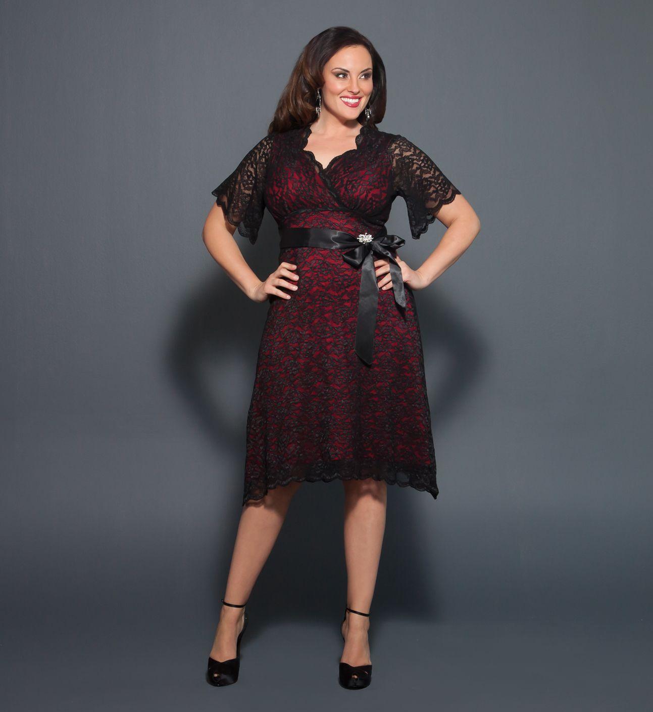 Black lace dress red shoes  LOVE this dress Plus Size Retro Glam Lace Dress  Style  Pinterest