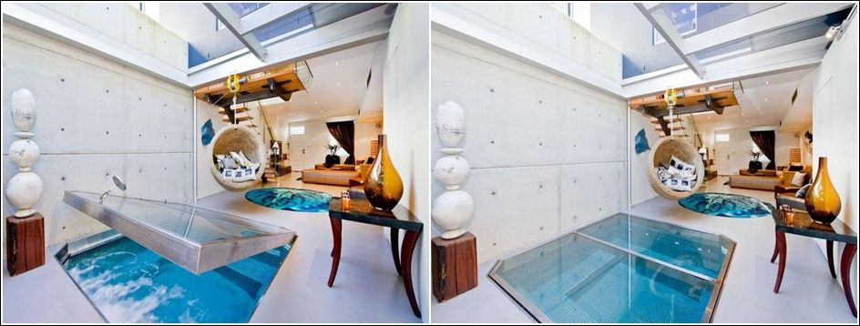 1. Basement Glass Pool Image Source: caandesign 2. Waterslide in a Closet Image Source: curbed 3. Suspended Bed with a Skylight Image Source: jjlocations 4