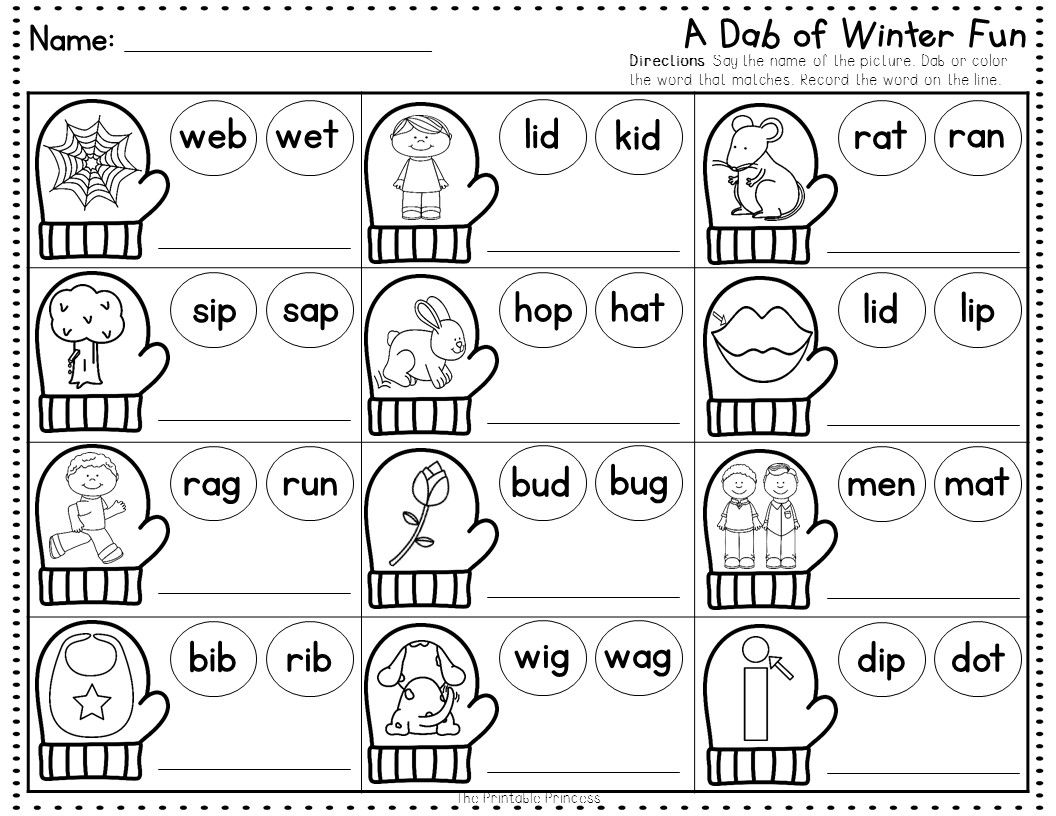 winter no prep pages literacy and math activities for kindergarten the words words and colors. Black Bedroom Furniture Sets. Home Design Ideas