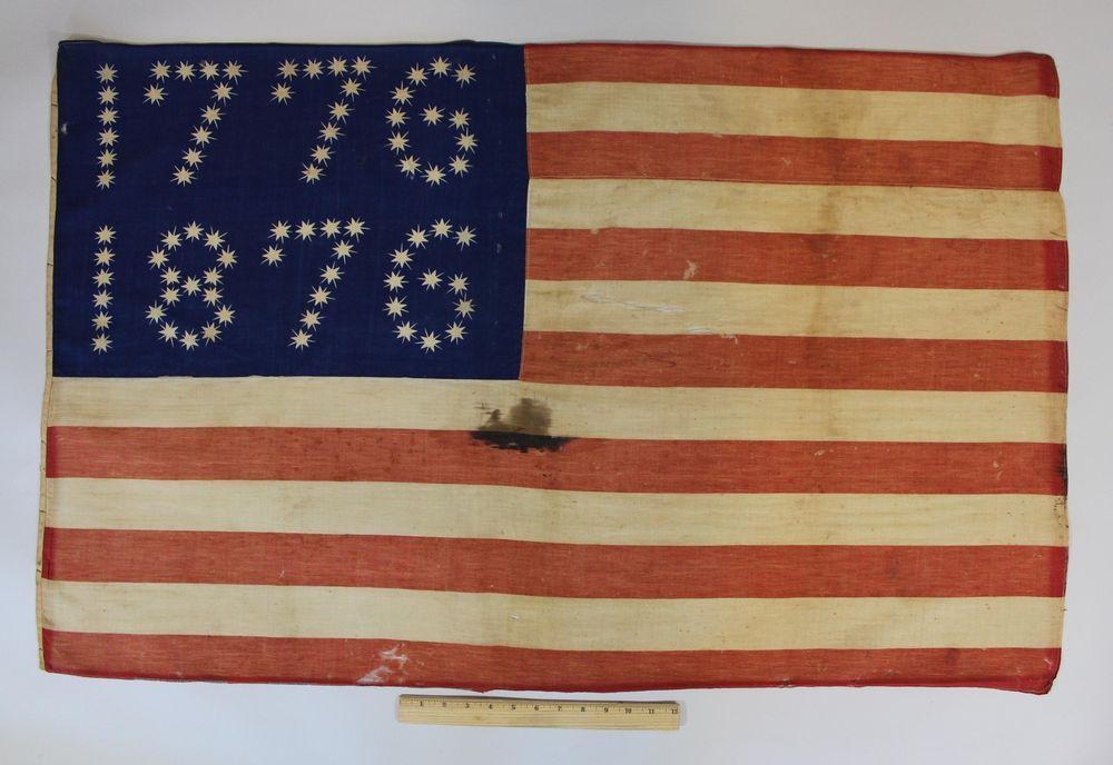 Rare Antique 19thc United States 1776 1876 Centennial Exposition 38 Star Flag Nr Vintage Americana Rare Antique Flag