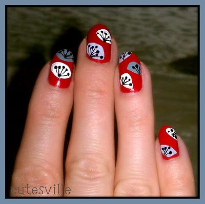retro flower nail art  #nailart