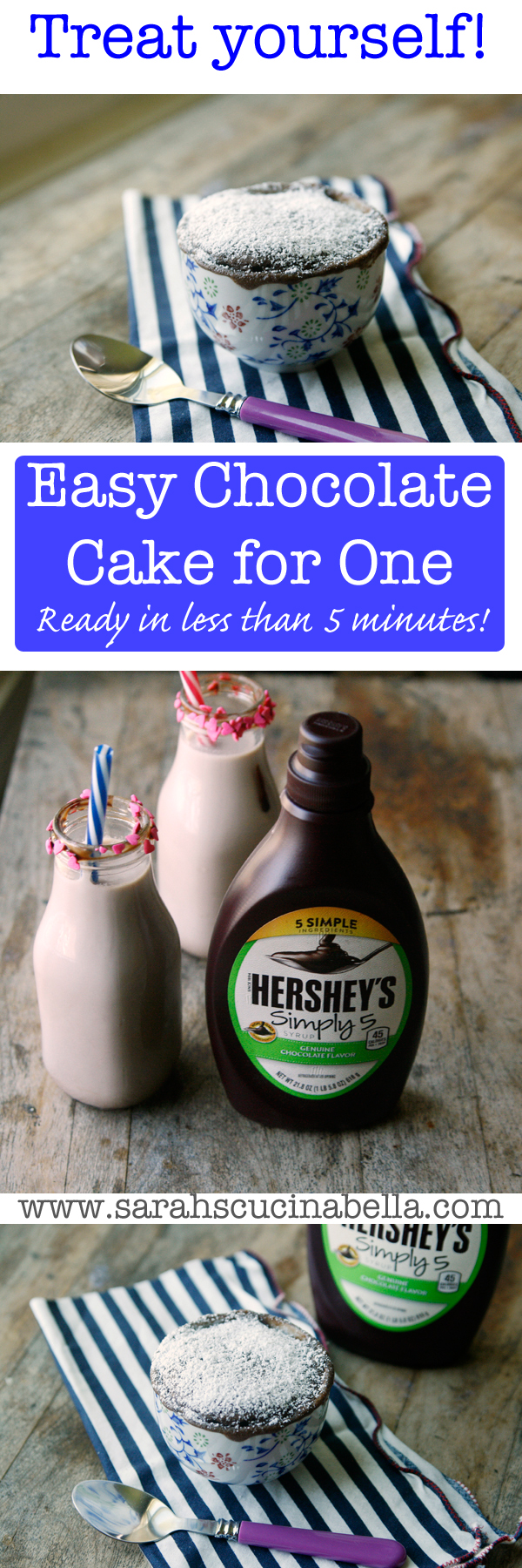 Quick and Easy Chocolate Cake for One is ready in less than 5 minutes with only 6 ingredients!