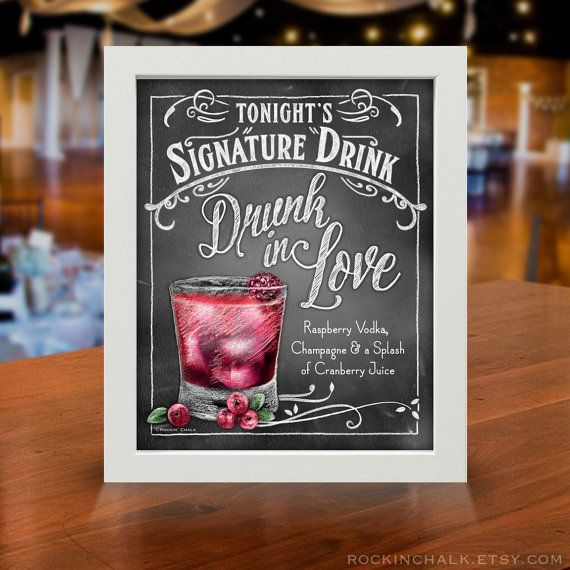 Wedding Signature Drinks.Personalized Signature Drink Signs Chalkboard By Rockinchalk